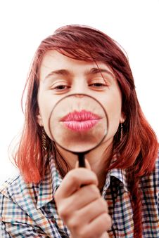 Kiss Of Funny Woman And Magnifying Glass Stock Photography