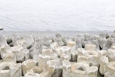 The Wave Dissipating Concrete Block Stock Images