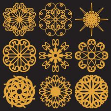 Set With Golden Flowers Royalty Free Stock Image