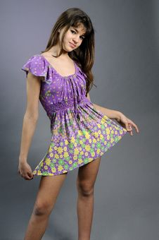 Young Model Posing With Her Beautiful Dress Stock Images