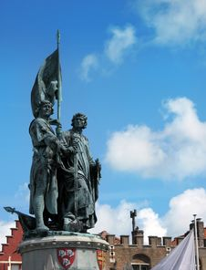 Statue Of Jan Breydel And Pieter De Coninck Bruges Royalty Free Stock Photos