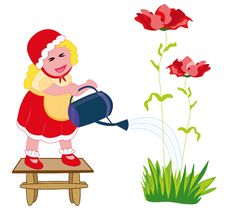 Free Farmer Girl Watering Flowers Stock Photography - 14119592