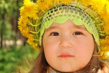 Portrait Of A Little Girl Wearing Dandelion Diadem Royalty Free Stock Image