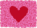 Free Red Heart With Roses,  Greeting Card Stock Image - 14125381