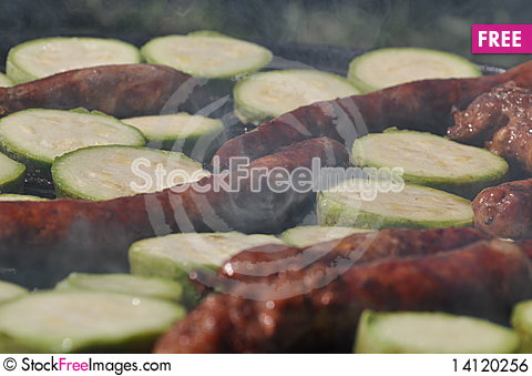 Free Grilled Sausages Royalty Free Stock Image - 14120256