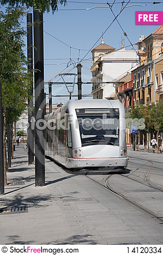 Free Cityscape. Modern Streetcar. Spain. Europe. Stock Images - 14120334