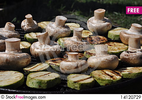 Free Mushrooms With Grilled Zucchini Royalty Free Stock Images - 14120729