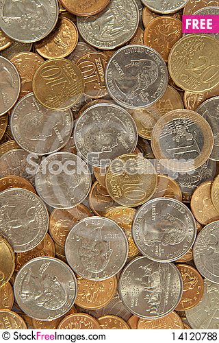 Free Background From Coins Royalty Free Stock Photos - 14120788