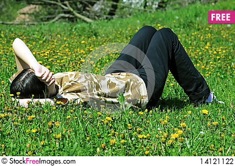 Free Girl Dreaming On The Grass Stock Photography - 14121122