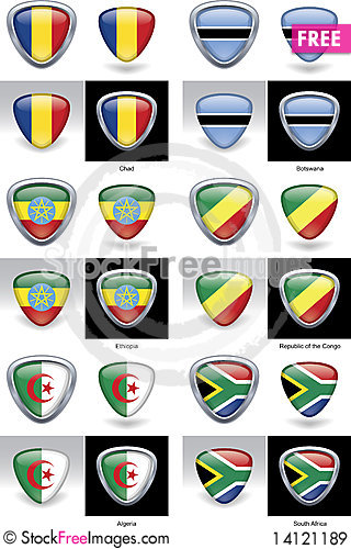 Free African Flag Crests Royalty Free Stock Images - 14121189