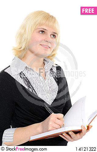 Free Woman With A Notebook Stock Photography - 14121322