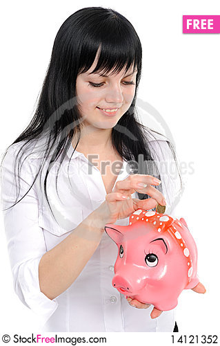Free Woman With A Piggy-bank Stock Photography - 14121352