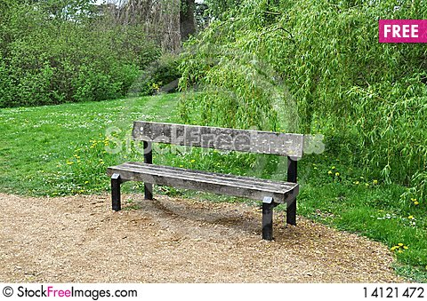Free Bench On The Park Path. Stock Photography - 14121472
