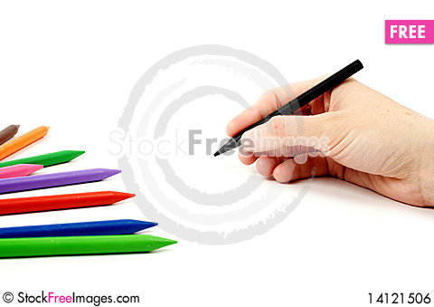 Free Black Pencil In Hand Royalty Free Stock Image - 14121506