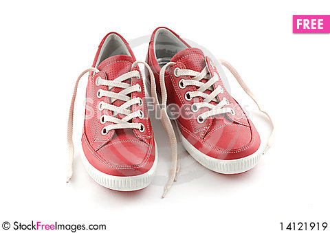 Free Red Leather Sneakers Royalty Free Stock Images - 14121919