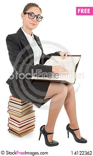 Free Woman And A Pile Of Books Stock Photography - 14122362