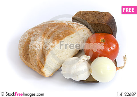 Free Bread Tomato Onion And Garlic Royalty Free Stock Photography - 14122687