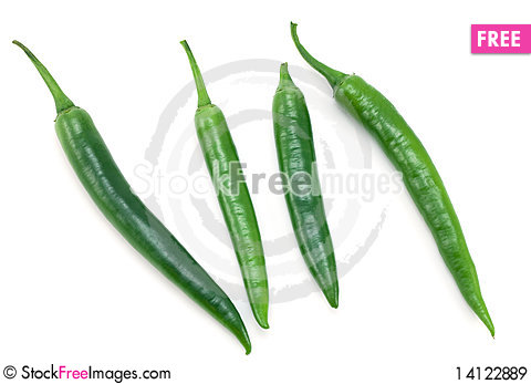 Free Green Chili Peppers Royalty Free Stock Images - 14122889