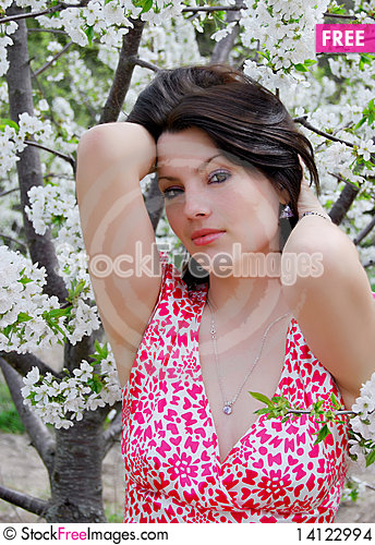 Free The Beautiful Girl In A Garden Stock Images - 14122994