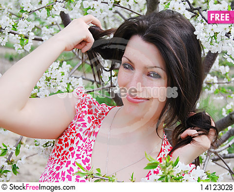 Free The Beautiful Girl In A Garden Royalty Free Stock Photos - 14123028