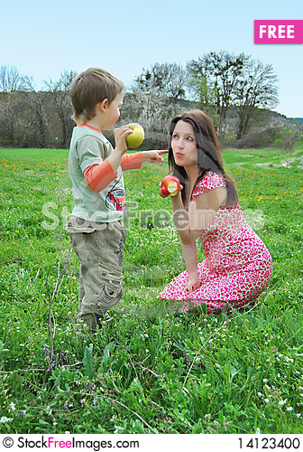Free Mum And The Son On A Walk Stock Photo - 14123400