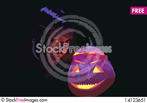 Free Person And Pumpkin Stock Image - 14123651