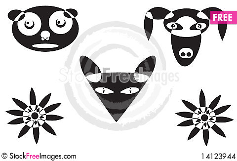 Free Vector Animal Faces Stock Images - 14123944