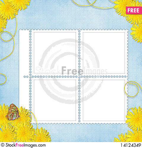 Free Card For Holiday With Flowers Royalty Free Stock Images - 14124349