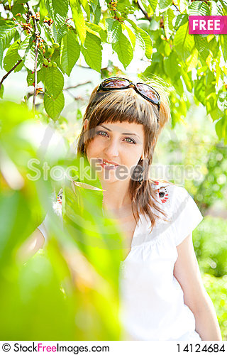 Free Beautiful Girl Between The Trees Stock Images - 14124684