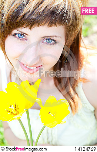 Free Portrait With Tulips Royalty Free Stock Images - 14124769