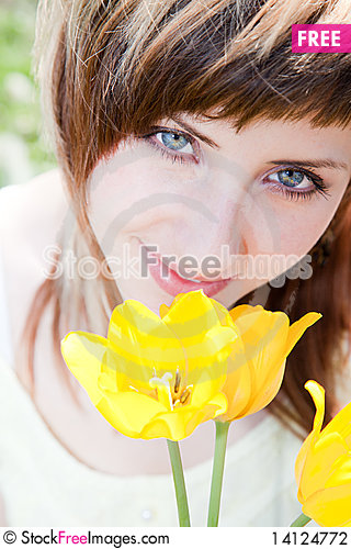 Free Portrait With Tulips Stock Photography - 14124772