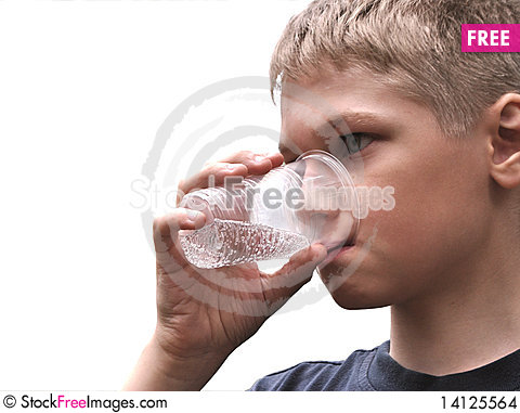 Free Water.Teenager Drinks From Can. Stock Images - 14125564