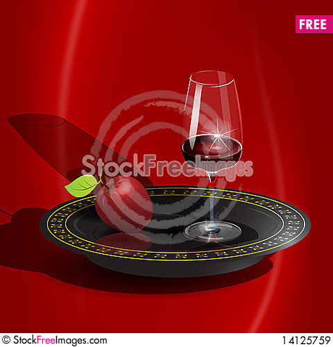 Free Wine And Apple Royalty Free Stock Images - 14125759