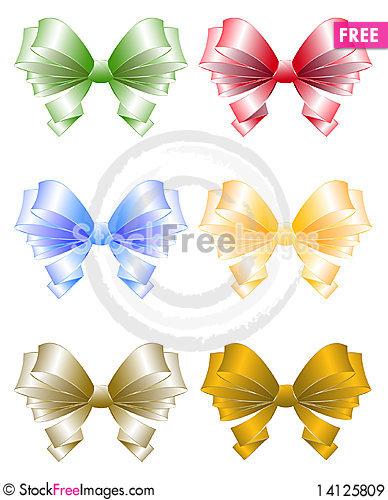Free Colored Greeting Bows Royalty Free Stock Images - 14125809