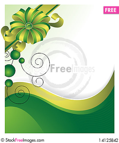 Free Green Background With A Gift Bow Stock Photography - 14125842