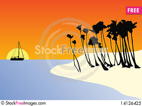 Free Beach At Sunset Royalty Free Stock Photo - 14126425