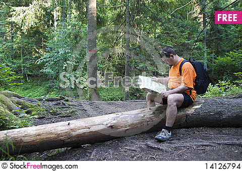 Free Tourist Reading A Map Stock Images - 14126794