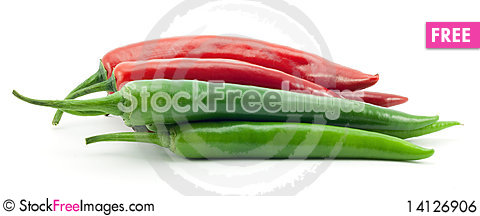 Free Green And Red Chili Peppers Royalty Free Stock Image - 14126906