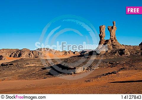 Free Algeria Sahara Mountains Landscape Stock Photos - 14127843