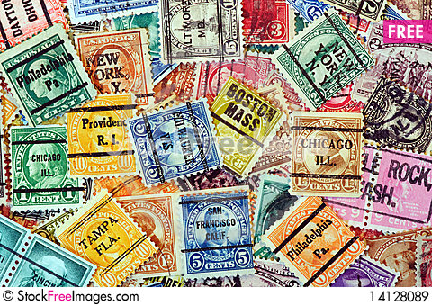 Free USA Stamps With State Cancels Royalty Free Stock Images - 14128089