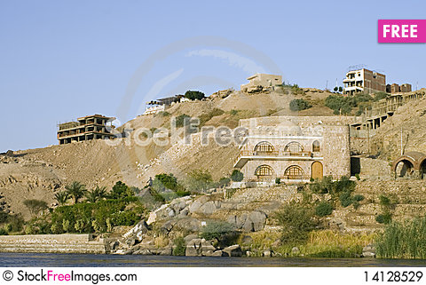 Free Nile River Houses,Aswan Royalty Free Stock Images - 14128529