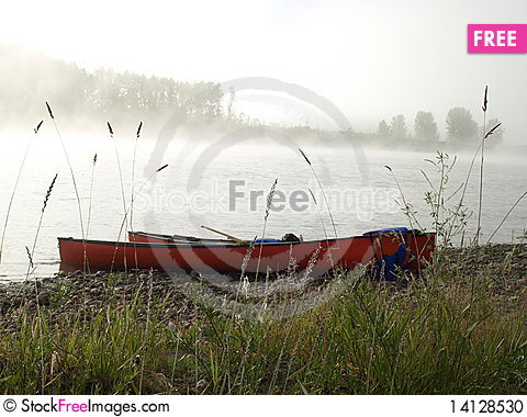 Free Canada Canoe River Bak And Fog Stock Photo - 14128530