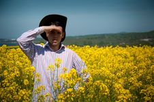 Free Young Man In Rape Field Royalty Free Stock Images - 14120019