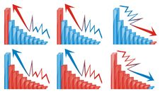 3d Graphics Chart Blue And Red Stock Photo