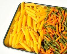 Pasta On A Tray Stock Photos