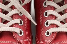 Red Leather Sneakers Royalty Free Stock Photography