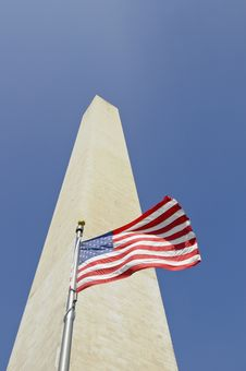 Free Washington Monument With American Flag In Front Royalty Free Stock Image - 14122096