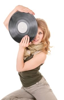 Free Young Girl With A Record Stock Photo - 14122170