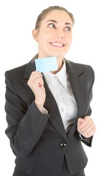 Free Business Woman With Blank Card Stock Photo - 14122260