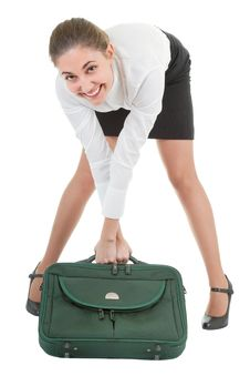Free Woman  With A Luggage Royalty Free Stock Image - 14122306